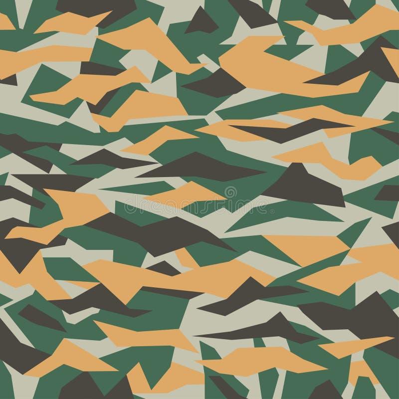Vector geometrisch camouflage naadloos patroon Kaki ontwerpstijl voor t-shirt Militair de vormpatroon van het textuurpuin, camokl royalty-vrije illustratie