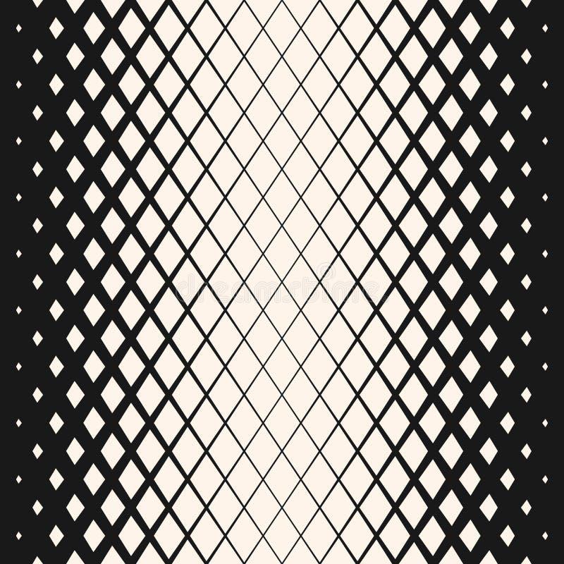 Vector geometrisch halftone naadloos patroon met langzaam verdwijnende ruiten Het ontwerp van de Hipstermanier stock illustratie