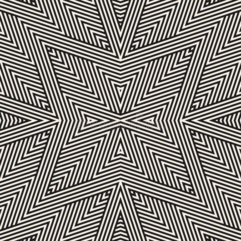 Vector geometrisch lijnen naadloos patroon Zwart-witte lineaire achtergrond stock illustratie