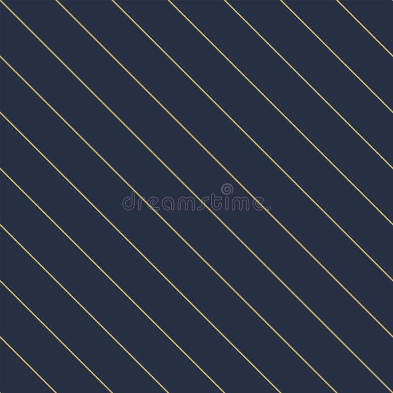 Vector geometrisch naadloos diagonaal lineair patroon - goldish gestreepte rijke textuur Modieuze blauwe achtergrond stock illustratie