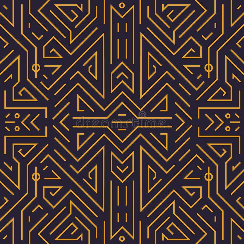 Vector geometrisch naadloos patroon Lineaire achtergrond van het monogram de abstracte art deco, uitstekende stijl Gebruik voor l stock illustratie