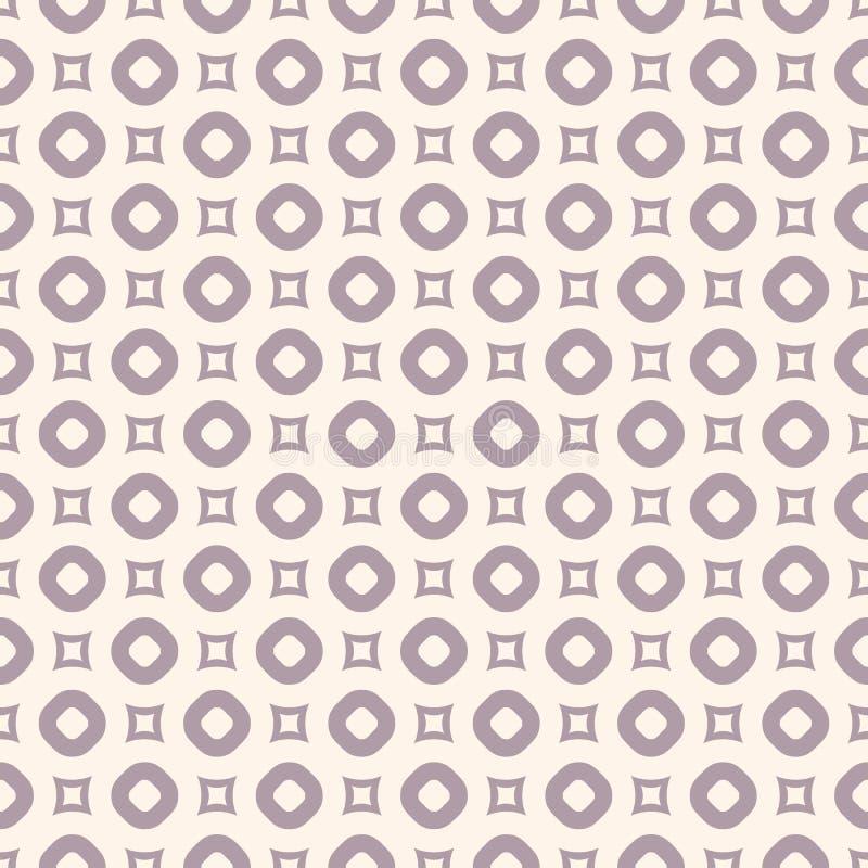 Vector geometrisch naadloos patroon met cirkels en vierkanten Purple en beige royalty-vrije illustratie