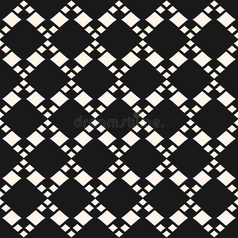 Vector geometrisch naadloos patroon met ruiten in diagonaal net stock illustratie