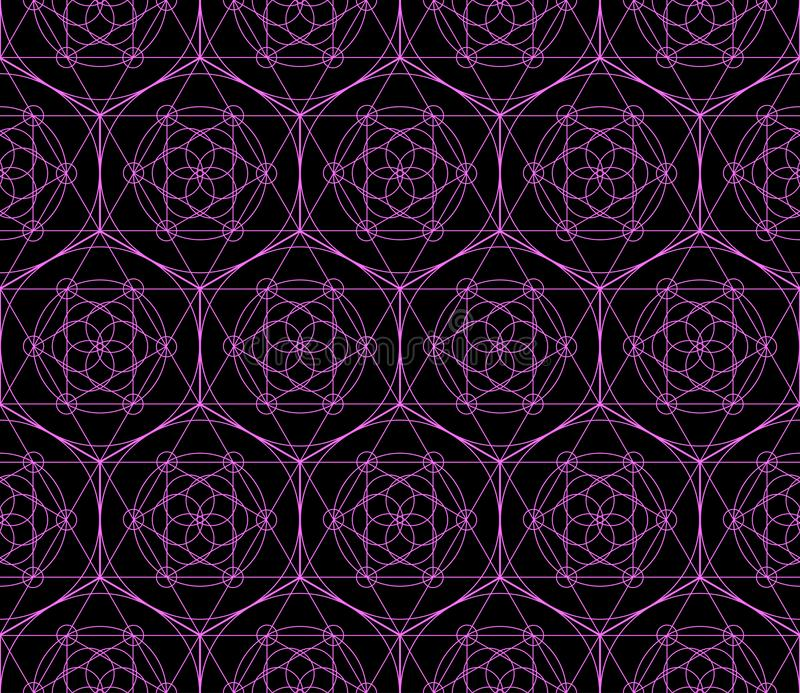 Vector geometrisch naadloos patroon van symbool van de neon het heilige meetkunde vector illustratie