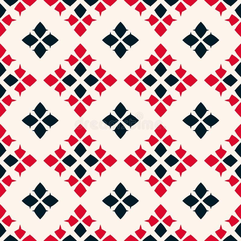 Vector geometrisch naadloos patroon Volksornament Rode, zwart-witte kleuren vector illustratie