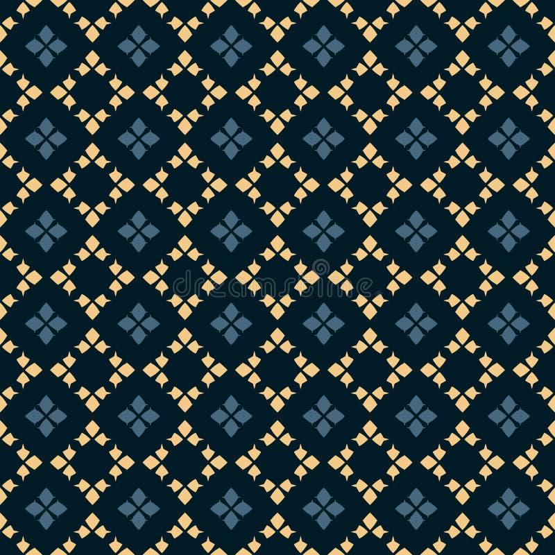 Vector geometrisch naadloos patroon Volksornament Zwarte, blauwe en gele kleuren royalty-vrije illustratie
