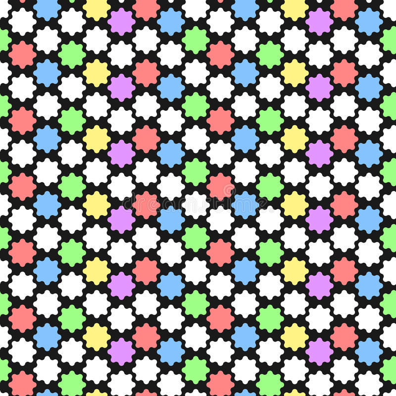 Vector geometrisch patroon met abstract ornament in pastelkleuren De druk van de vette lettersmeetkunde in art decostijl naadloos royalty-vrije illustratie