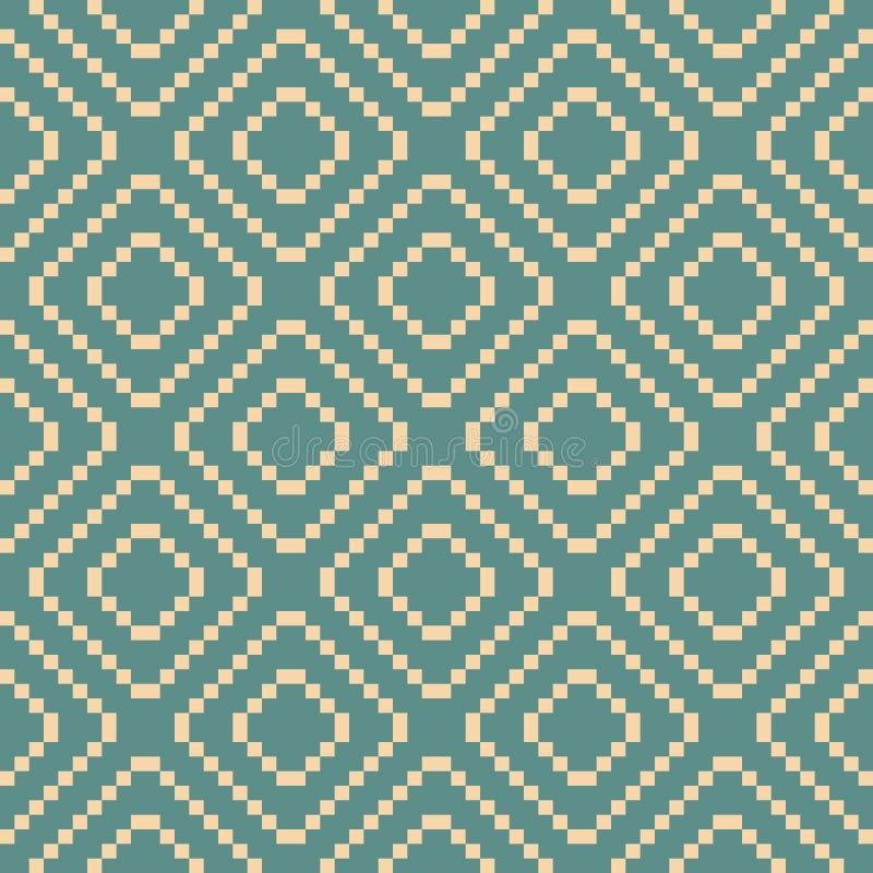 Vector geometrisch traditioneel volksornament Wintertaling en beige naadloos patroon vector illustratie