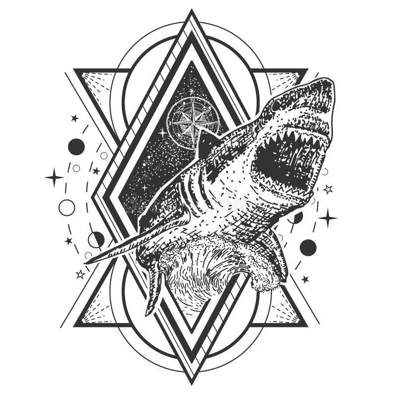 Vector geometrisch van de haaitatoegering of t-shirt drukontwerp royalty-vrije illustratie