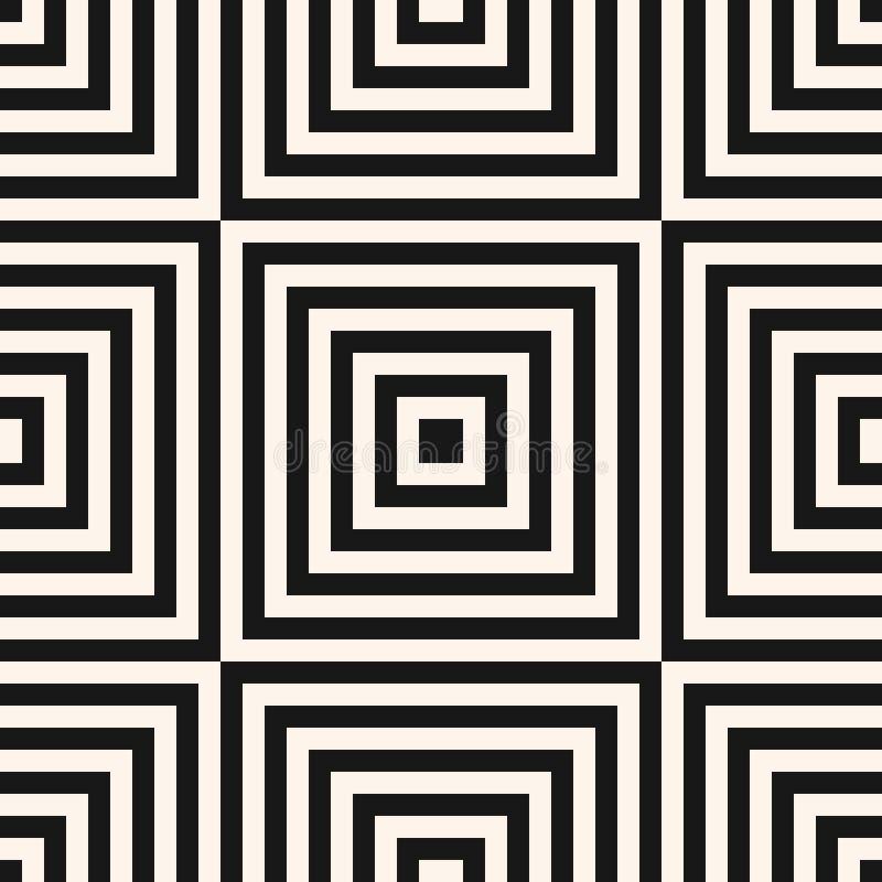 Vector geometrisch vierkanten naadloos patroon Abstract zwart-wit ornament vector illustratie