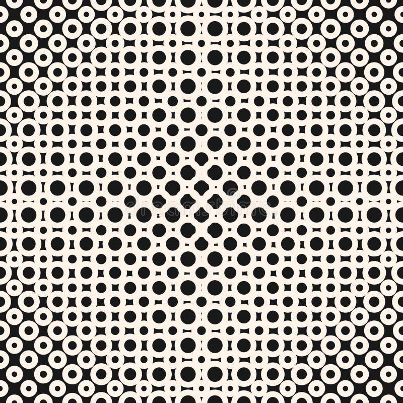 Vector geometrisch zwart-wit halftone naadloos patroon met cirkels, ringen, punten stock illustratie