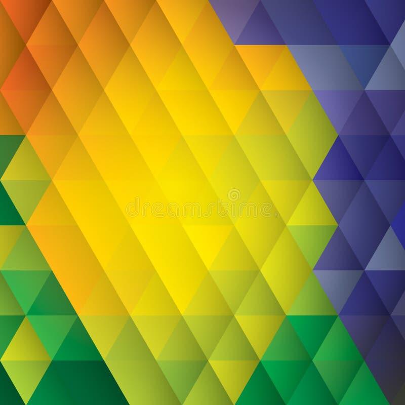 Vector geometrische achtergrond in het concept van de de vlagkleur van Brazilië royalty-vrije illustratie