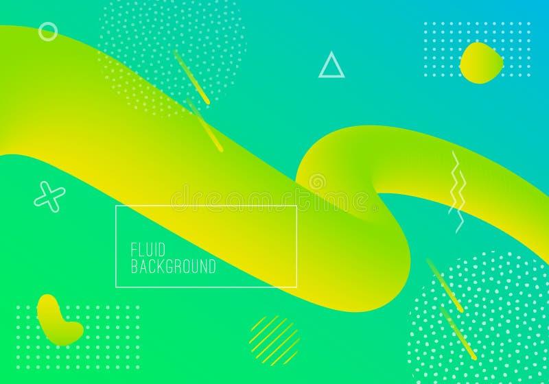 Vector geometrische achtergrond met moderne vloeibare vormen Dynamische gradiënt stromende vormen royalty-vrije illustratie