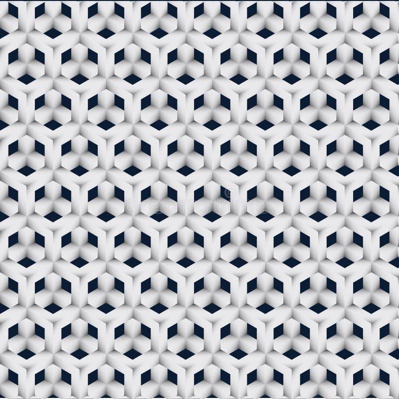 Vector GEOMETRISCHE, 3d kubus, 3d vierkante grijze zwarte, achtergrond, patroon, textuur royalty-vrije illustratie