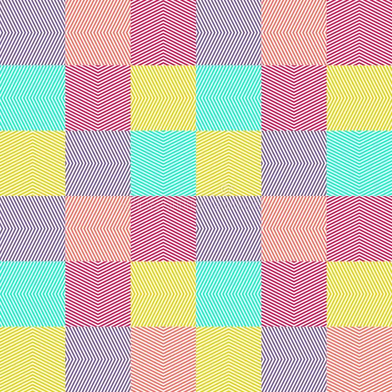 Vector geometrische naadloze patroon kleurrijke strepen, zigzag, chevron, tegels royalty-vrije illustratie