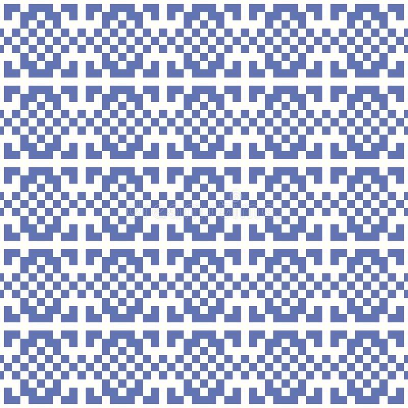 Vector geometrische pixel etnische achtergrond met het snijden van vierkanten royalty-vrije illustratie