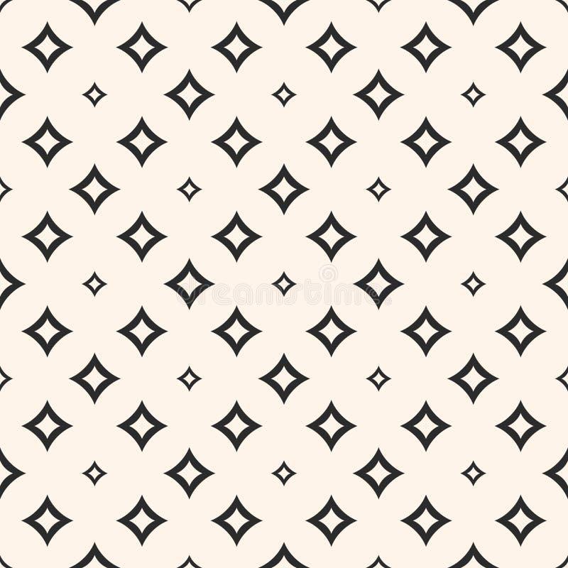 Vector geometrische textuur met kleine diamantvormen, overzichtsruiten, sterren, gloed vector illustratie