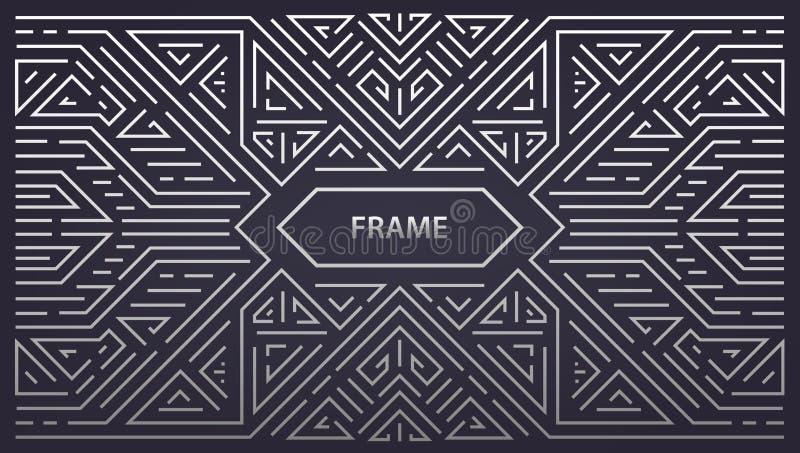 Vector geometrischen Rahmen des abstrakten Monogramms, horizontalen Hintergrund linearsilver Orientierung der Weinlese lizenzfreie abbildung