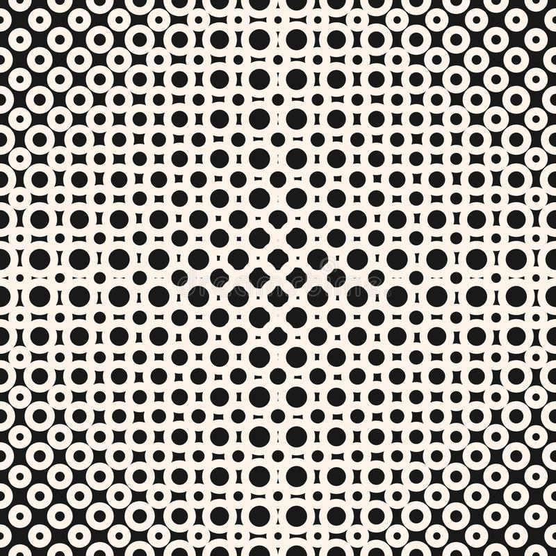 Vector geometrisches einfarbiges nahtloses Halbtonmuster mit Kreisen, Ringe, Punkte stock abbildung