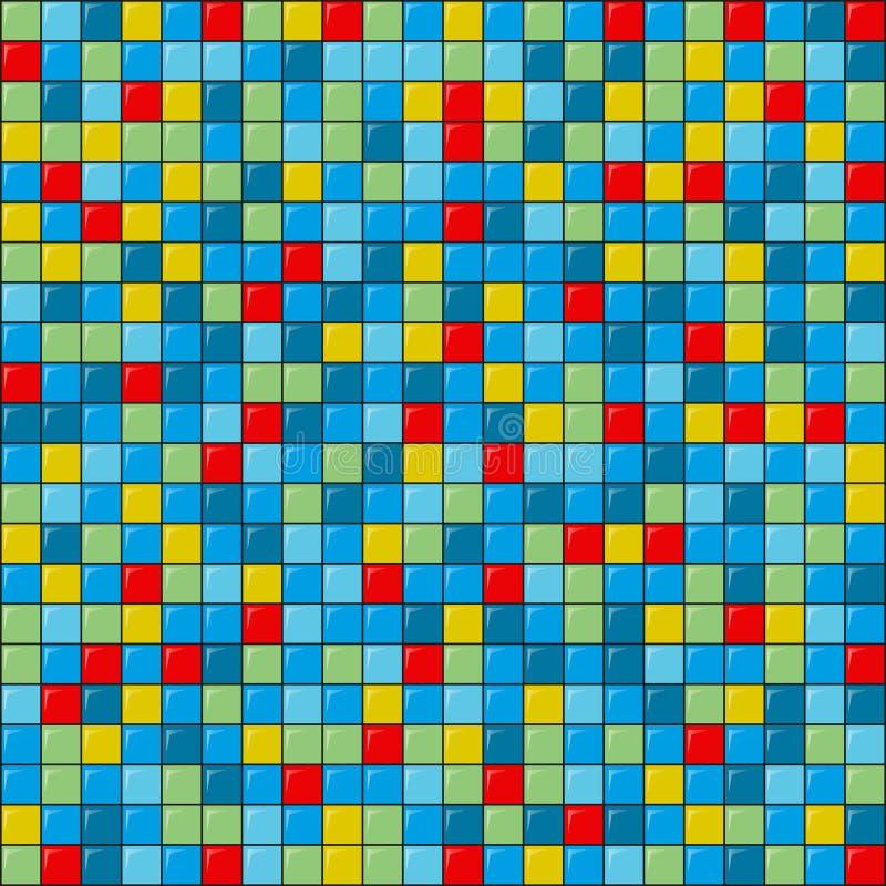 Vector geometrisches Muster der flachen Kunst von farbigen Quadraten mit grellem Glanz stock abbildung