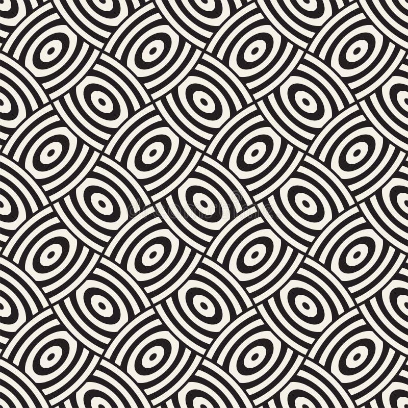 Vector geometrisches nahtloses Muster mit Gitter der gebogenen Formen Abstraktes Monochrom gerundete Gitterbeschaffenheit Moderne vektor abbildung