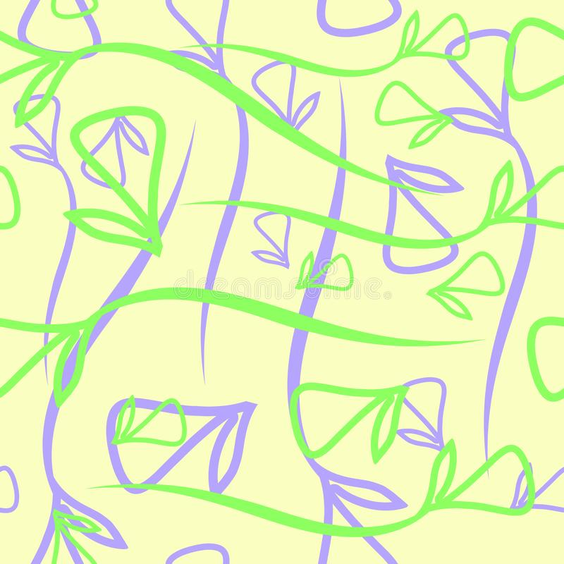 Vector geometrisches Pastellmuster des vegetativen blauen und grünen ele lizenzfreie abbildung
