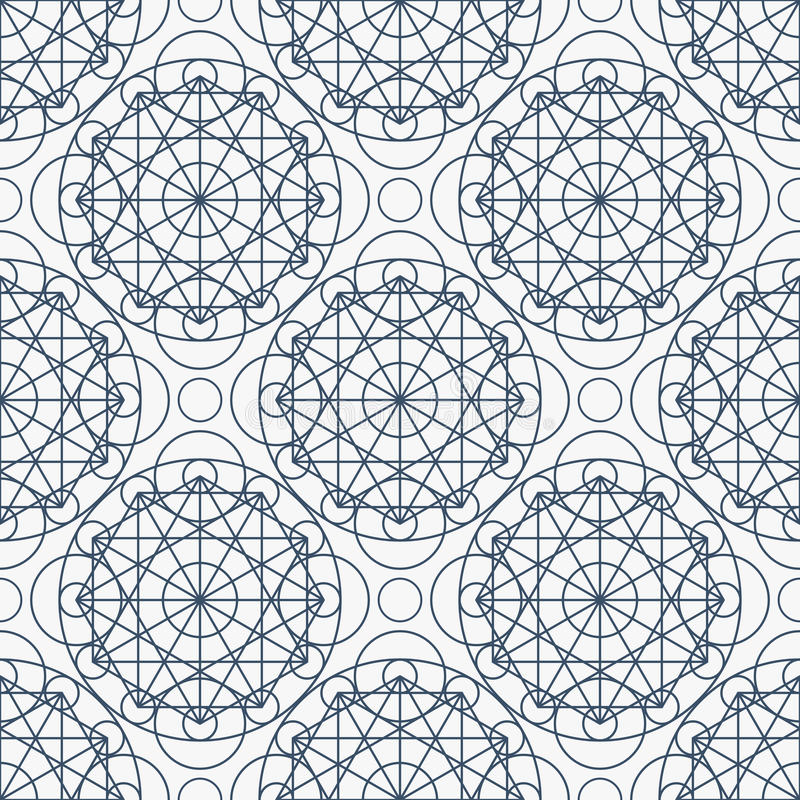 Vector Geometry Seamless Pattern. Geometric seamless texture. Vector linear mystical pattern on white background royalty free illustration
