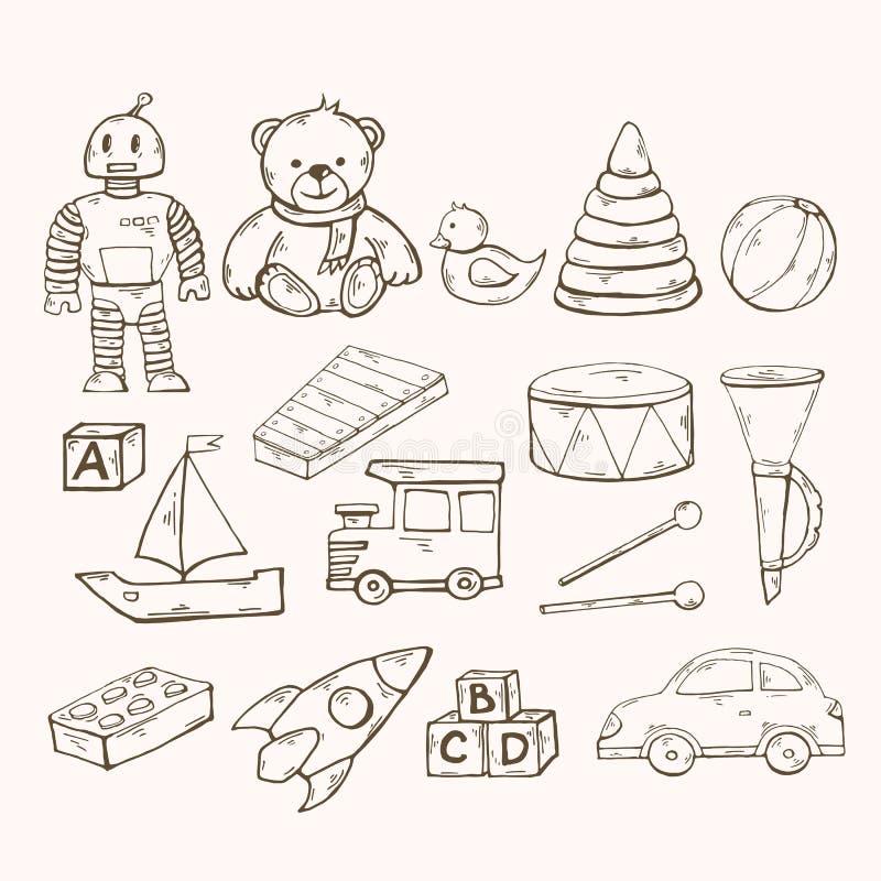 Vector geplaatst speelgoed De inzameling van het kinderenspeelgoed met robot, eend vector illustratie