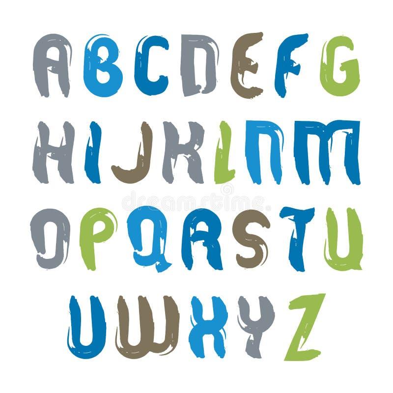 Vector geplaatste alfabet hoofdletters, hand-drawn kleurrijk manuscript, stock illustratie
