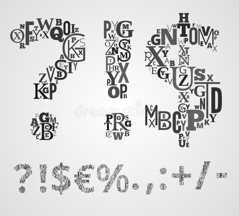 Vector Geplaatste Alfabetsymbolen stock illustratie