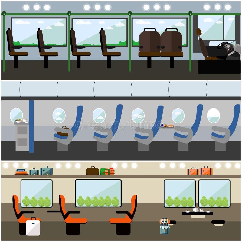 Vector geplaatste banners van het openbaar vervoer de binnenlandse concept Bus, trein en vliegtuig royalty-vrije illustratie