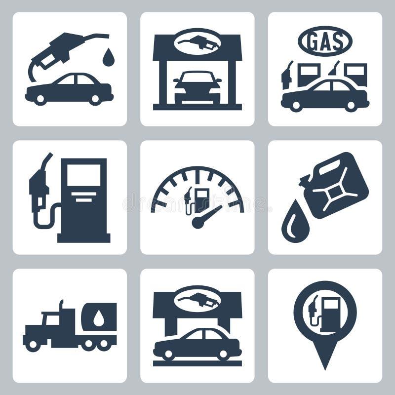 Vector geplaatste benzinestationpictogrammen royalty-vrije illustratie