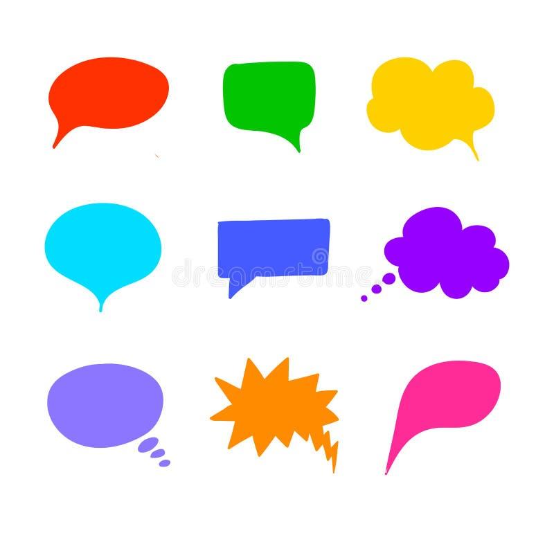 Vector Geplaatste Besprekingsbellen, Geïsoleerd op Witte Achtergrond Handdrawn Ontwerpelementen stock illustratie