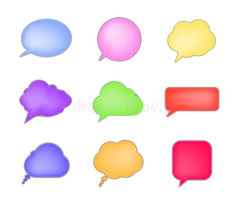 Vector Geplaatste Besprekingsbellen, Inzameling van Kleurrijke Kaders, 3D Geïsoleerde Ontwerpelementen vector illustratie