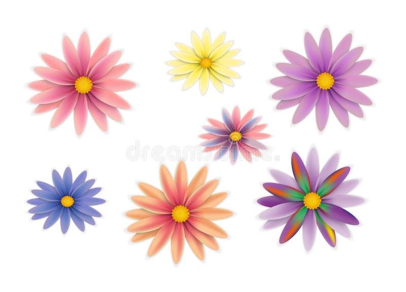 Vector geplaatste bloemen royalty-vrije stock fotografie