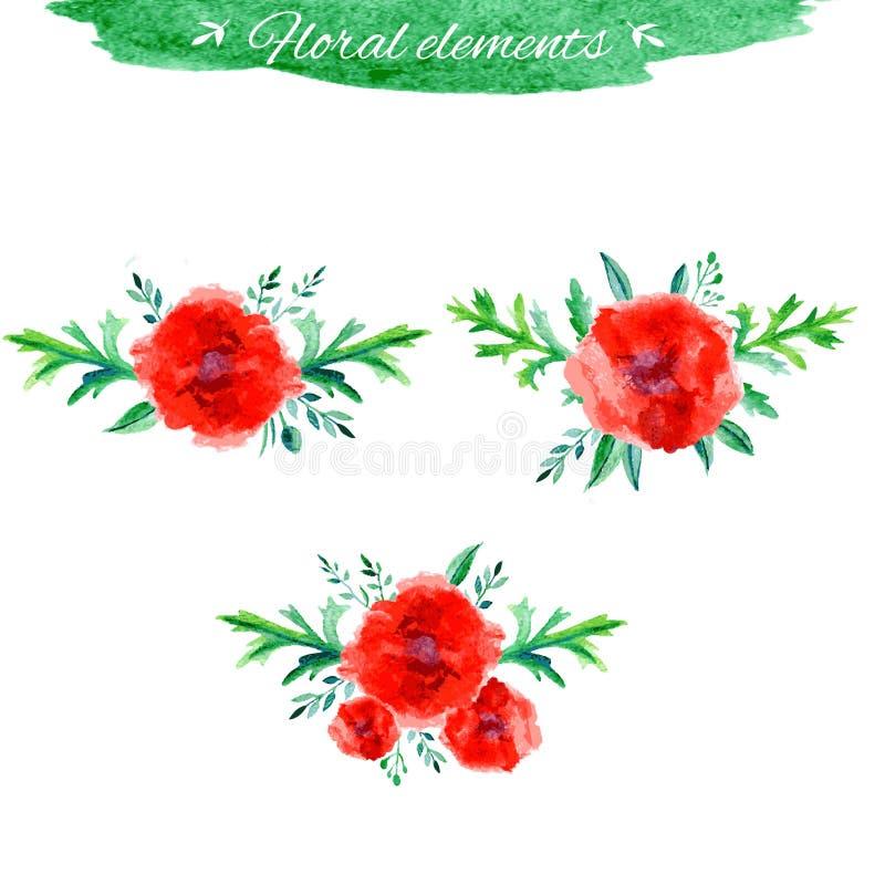 Vector geplaatste bloemen, Mooi bloemenhand getrokken waterverfboeket, bos van bloemstuk, met rode papaver en vector illustratie