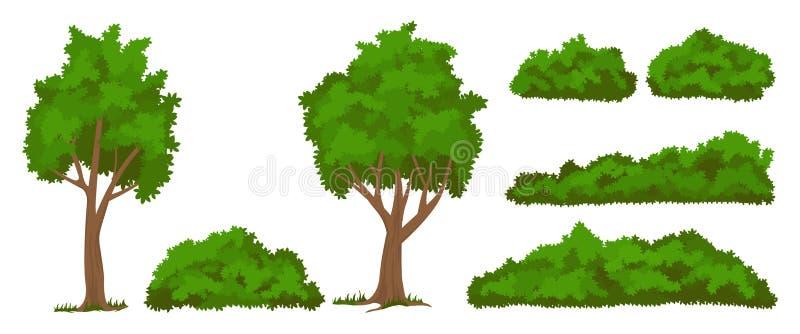 Vector geplaatste bomen en struiken royalty-vrije illustratie