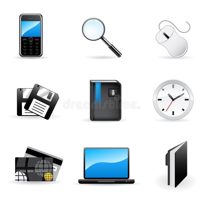 Vector geplaatste bureau en bedrijfspictogrammen stock illustratie