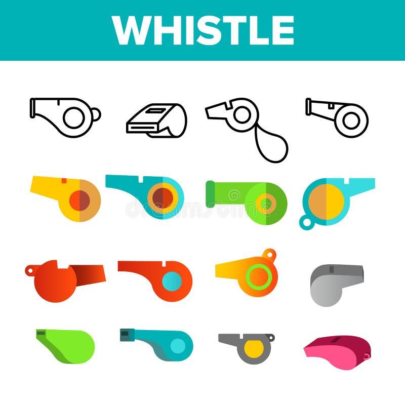 Vector Geplaatste de Kleurenpictogrammen van het sport Plastic Fluitje royalty-vrije illustratie