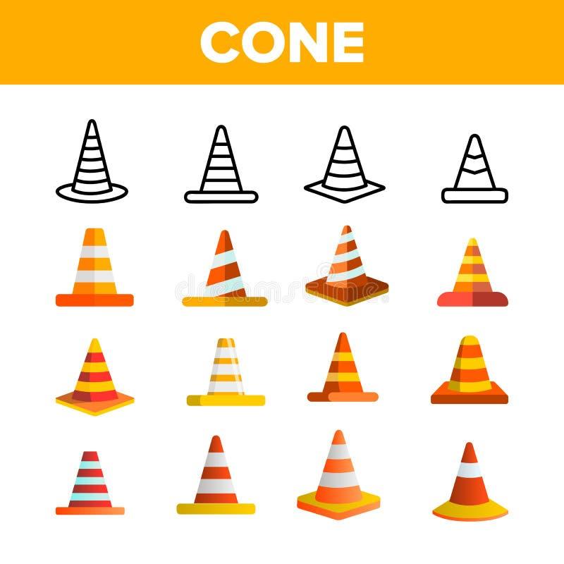 Vector Geplaatste de Kleurenpictogrammen van verkeers Oranje Kegels royalty-vrije illustratie