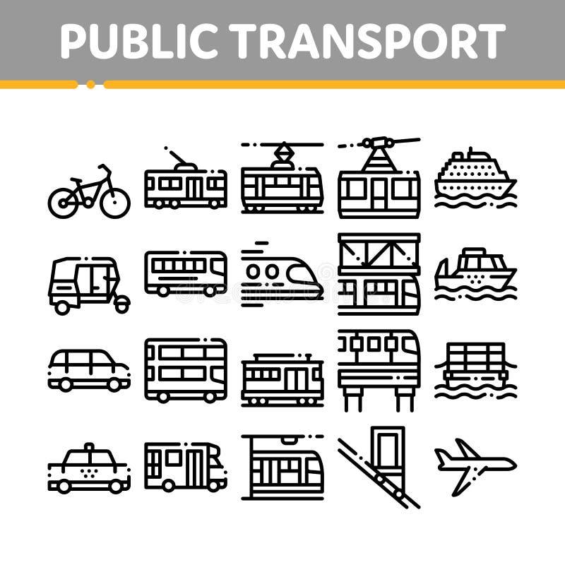 Vector Geplaatste de Lijnpictogrammen van het inzamelings Openbare Vervoer stock illustratie