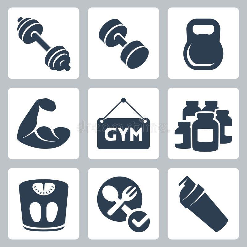 Vector/geplaatste geschiktheidspictogrammen die bodybuilding royalty-vrije illustratie