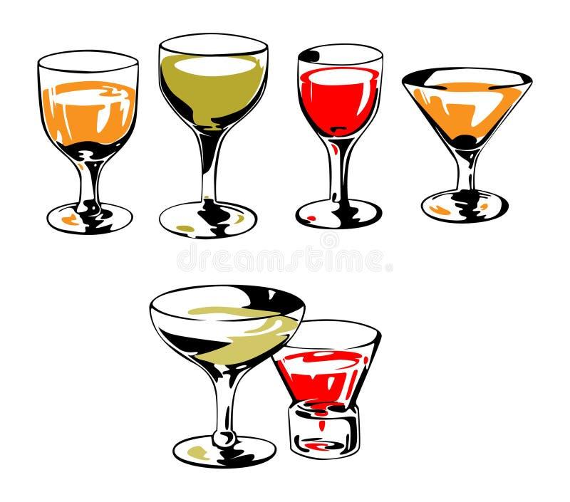 Vector geplaatste glazen royalty-vrije illustratie