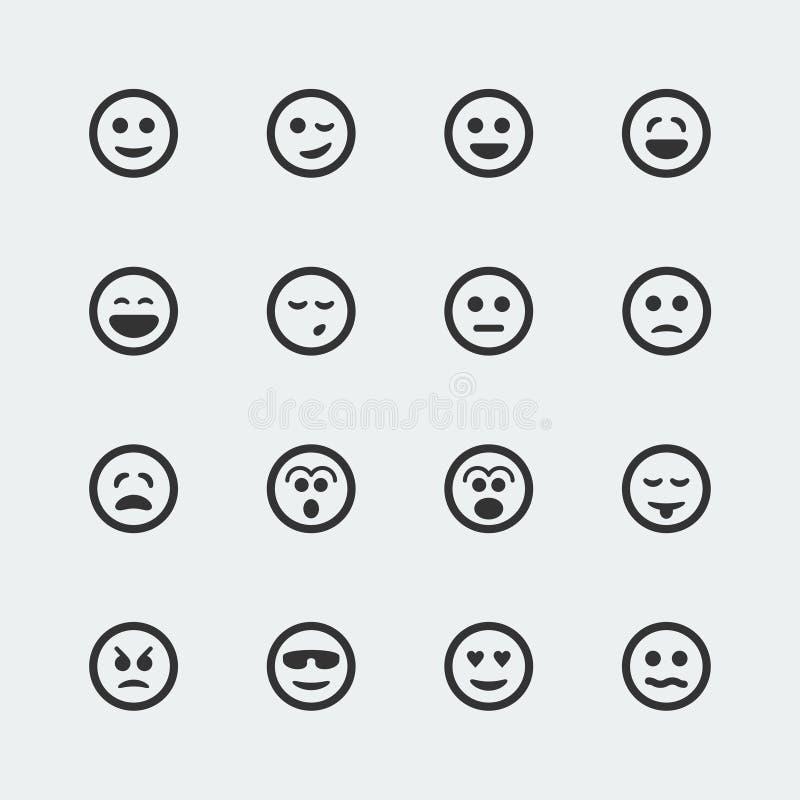 Vector geplaatste glimlachpictogrammen stock illustratie