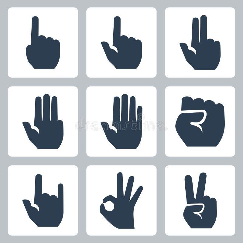 Vector geplaatste handenpictogrammen vector illustratie
