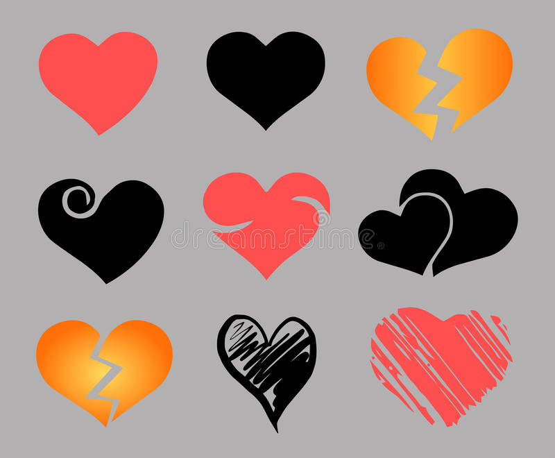 Vector geplaatste harten royalty-vrije illustratie