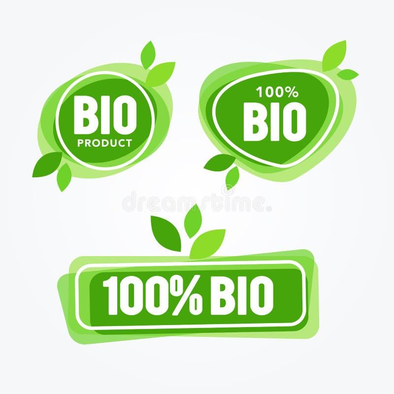 Vector Geplaatste het Voedseletiketten van Illustratie Groene Eco De Inzameling van gezondheidsrubrieken Organisch, Natuurlijk Pr vector illustratie