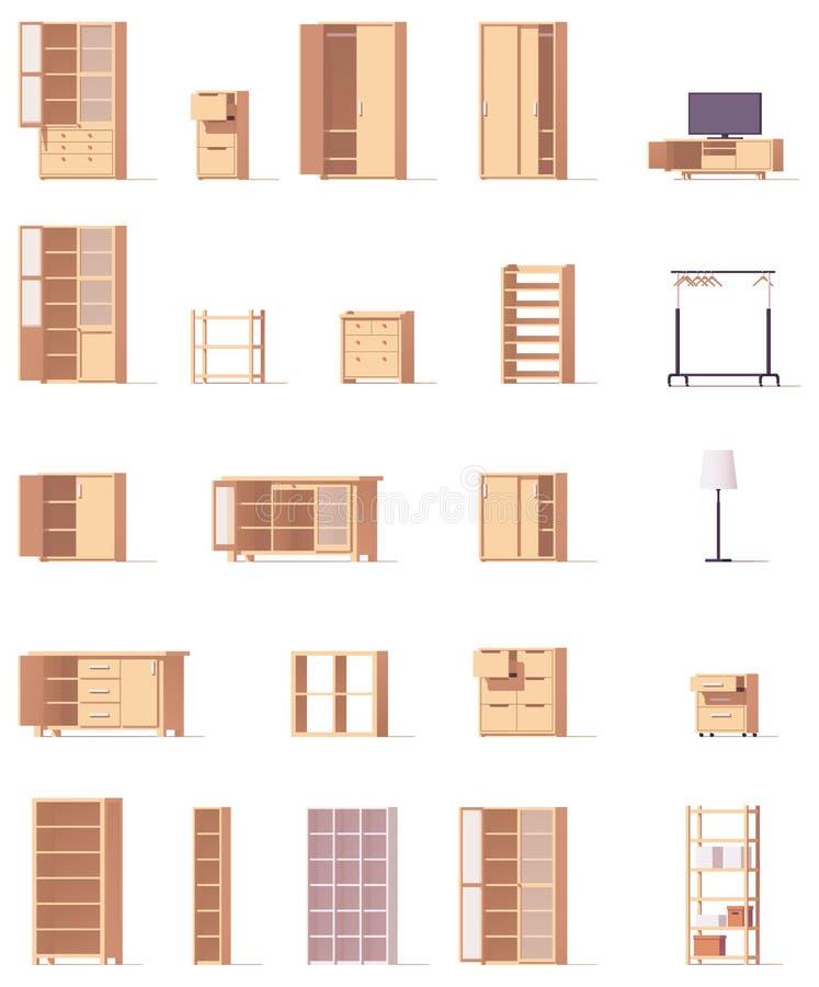 Vector geplaatste kabinetten royalty-vrije illustratie