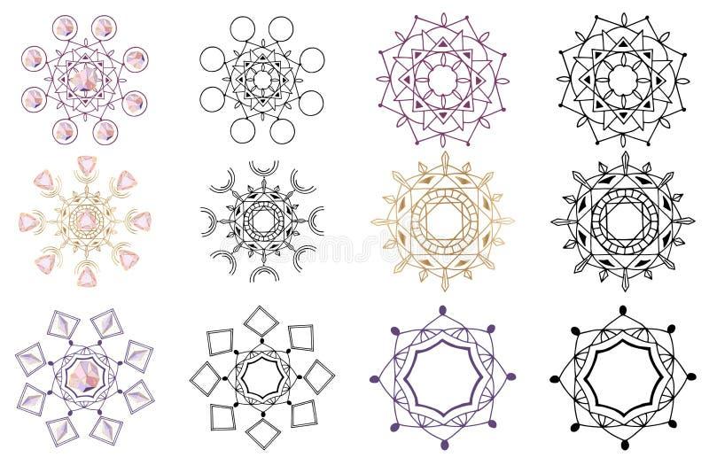 Vector Geplaatste Kristallen royalty-vrije illustratie
