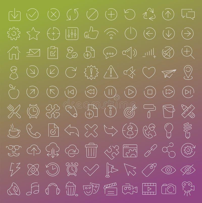 100 vector geplaatste lijnpictogrammen royalty-vrije illustratie